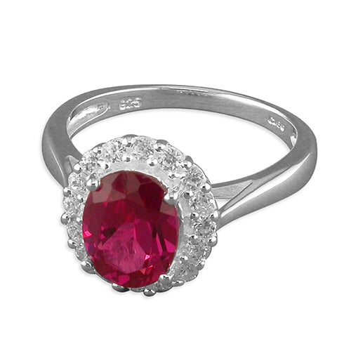 Sterling Silver Ruby/White Cubic Zirconia Ring