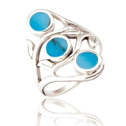 Sterling Silver Turquoise Stone Ring with Three Stones