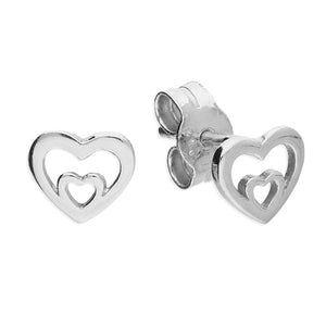 Sterling Silver Double Heart Outline Stud Earring