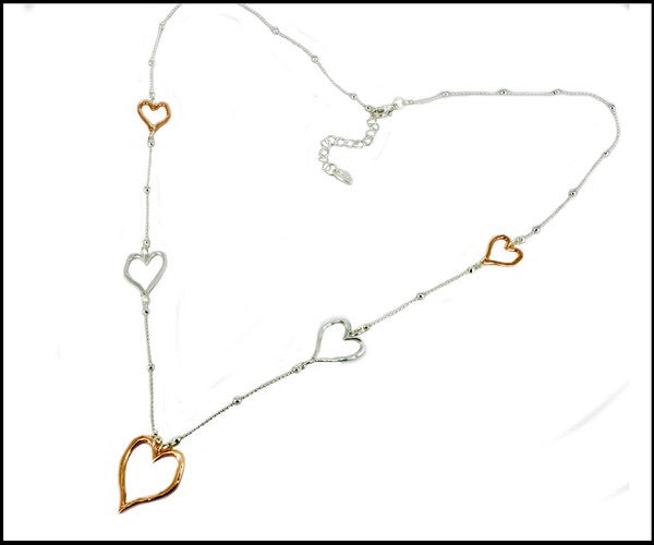 Long Necklace in Silver Plated/Rose Gold Plated with Hearts