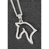 Country Silver Plated Diamond Horse Head Necklace