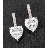 Platinum Plated Earrings With Crystals and Drop Heart