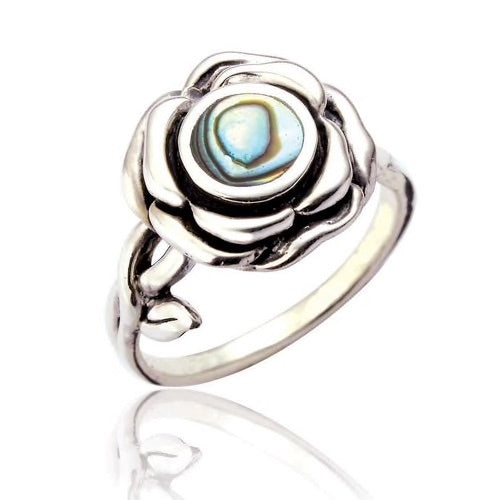 Sterling Silver Rose Ring with Abalone Stone