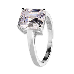 Sterling Silver Ring with Asscher-Cut Cubic Zirconia Solitaire