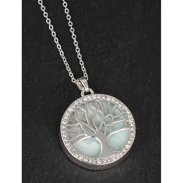 Silver Plated Amazonite Tree of Life Necklace