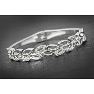 Silver Plated Leaves Bangle