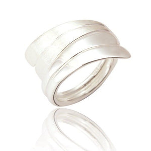 Sterling Silver Statement Ring In Frosted and Highly Polished Silver