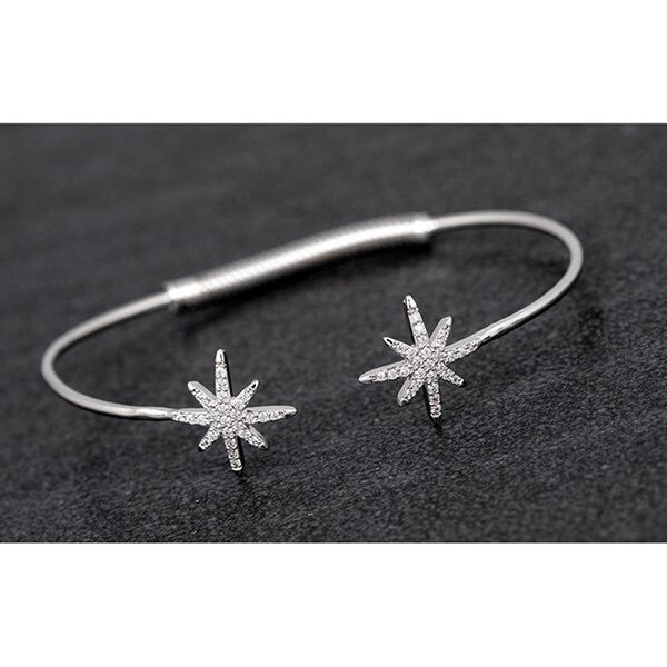 Silver Open Bangle with Star Plated with Real White Gold with Cubic Zirconia
