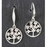 Silver Plated Tree of Life Drop Earrings with Small Diamanté stones