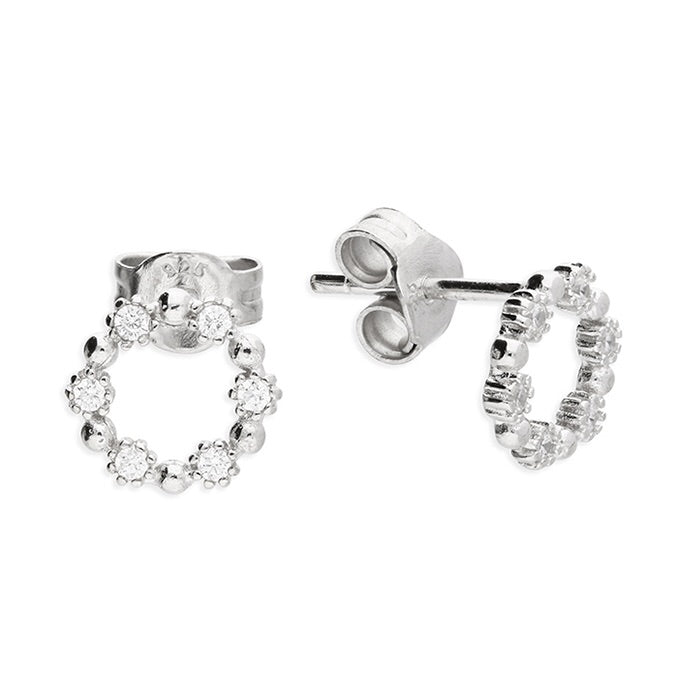 Sterling Silver Cubic zirconia open circle stud Earring