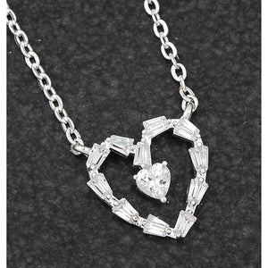 Silver Plated Baguette Heart Necklace