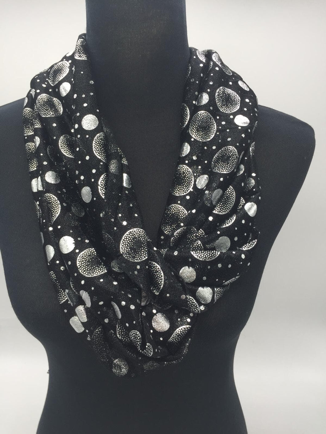 Snood Style Scarf with Silver Sparkle Circles - Comes In 4 Colours