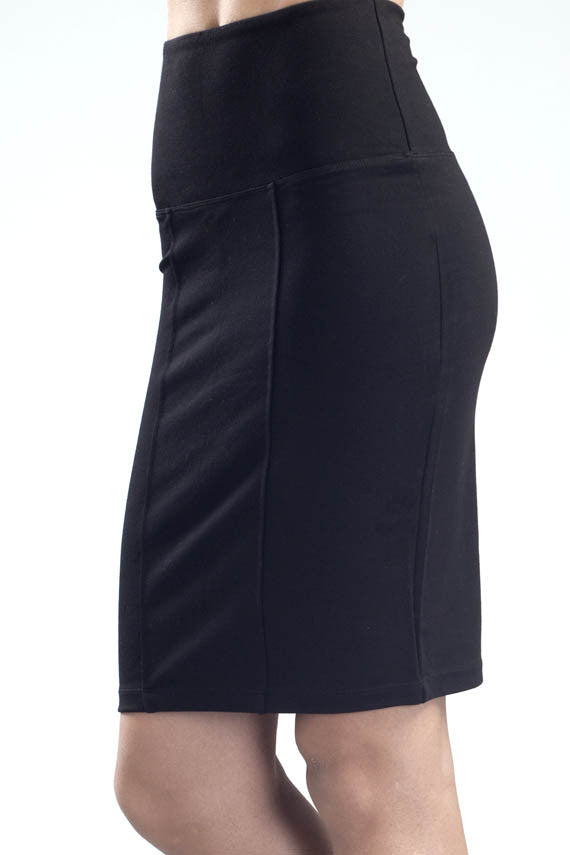 Svelte panel pencil skirt black profile