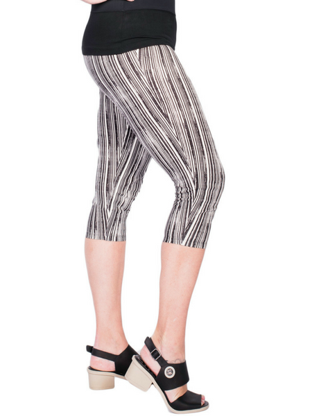 Black Stripe Capri