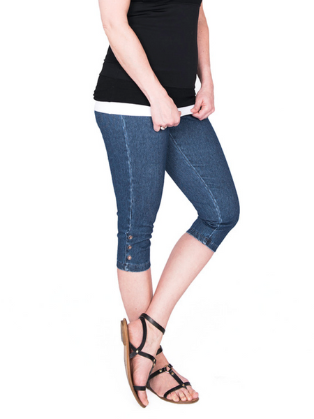 Grommet denim capri