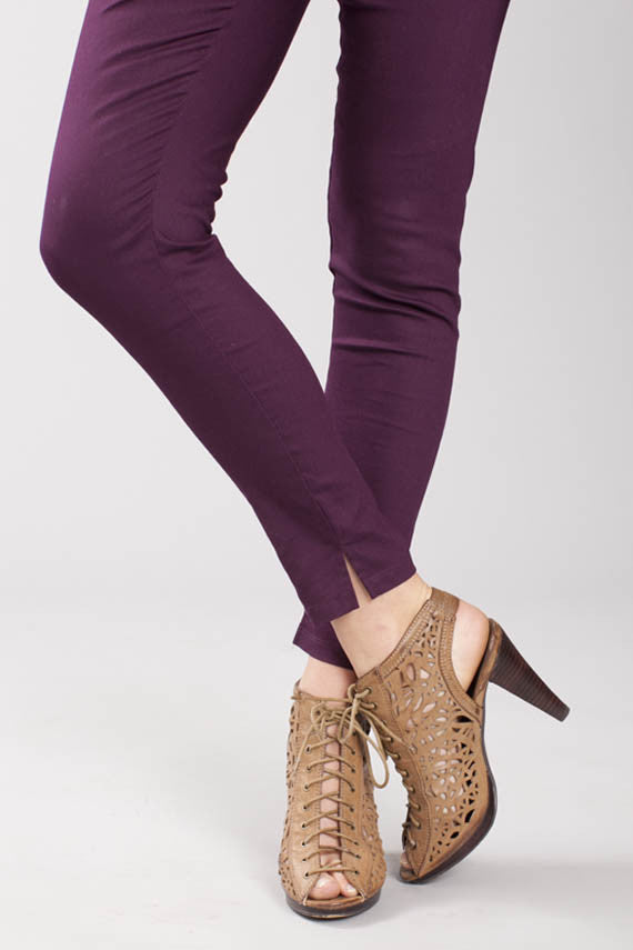 Cotton twill ankle slit leggings merlot detail