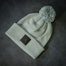 Load image into Gallery viewer, Black-leather-label pom beanie (colors available)
