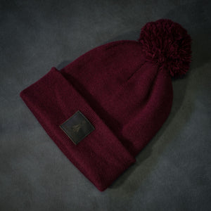 Black-leather-label pom beanie (colors available)