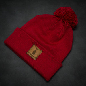 Brown-leather-label pom beanie (colors available)