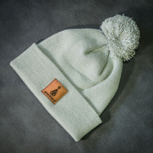 Load image into Gallery viewer, Brown-leather-label pom beanie (colors available)