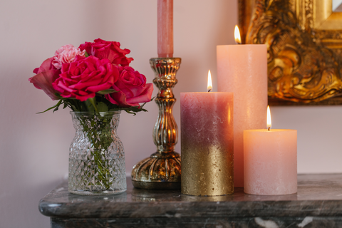 Candle cluster on mantlepiece