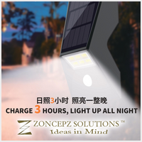 Solar Motion Sensor LED Wall Light. Superior Quality. Super Bright, Super Charging and Super Lasting.