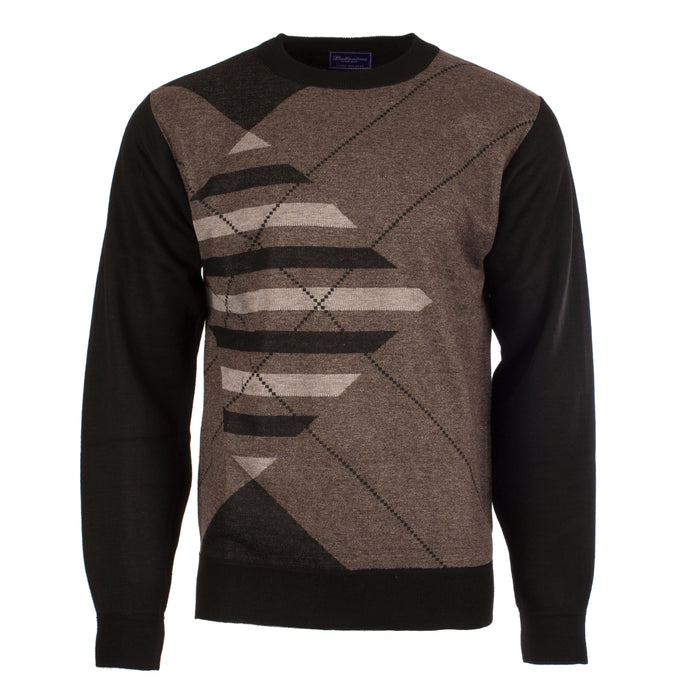 Men's Crew Neck Geometric Jumper