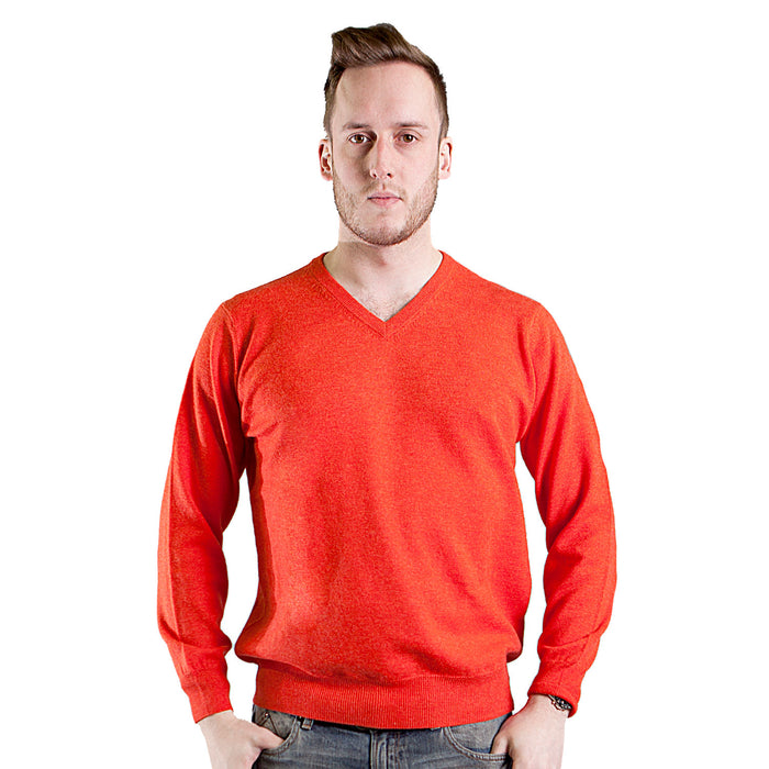 Merino Wool Plain V-Neck Jumper