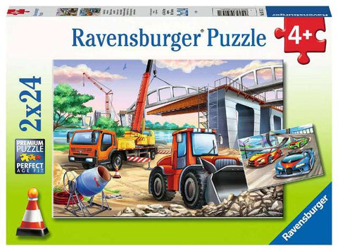 Ravensburger Puzzle 2 x 24 Piece, Construction and Cars