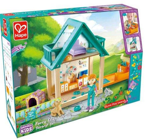 Hape Dollhouse Adventure Kids Furry Friends Vet Set