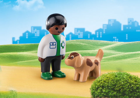Playmobil 1.2.3 Vet with Dog