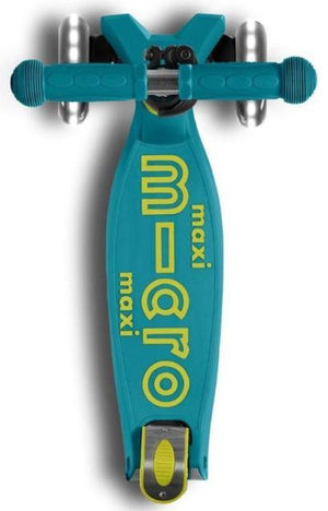 Micro Kickboard Maxi Deluxe Scooter - Petrol Green with LED Wheels