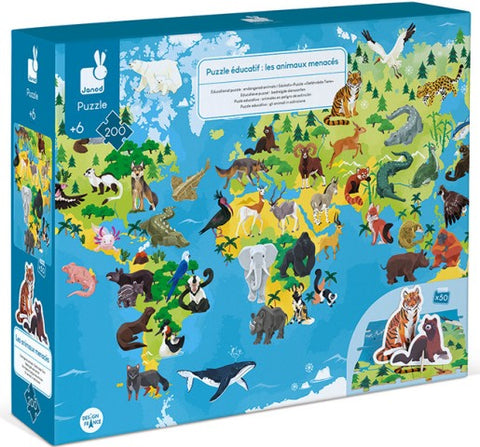 Janod 3D Educational Puzzle - Endangered Animal Puzzle, 200 Piece
