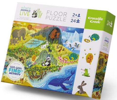 Crocodile Creek Early Learning Puzzle Where Animals Live, 24 Piece