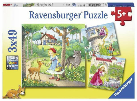 Ravensburger Puzzle 3 x 49 Piece, Rapunzel, Red Riding Hood, Frog King