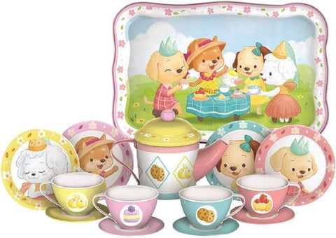 Tin Tea Set Puppy Tea Party