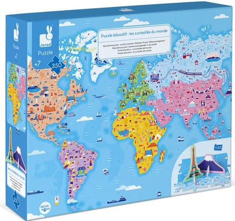 Janod 3D Educational Puzzle - World Curiosities, 350 Piece