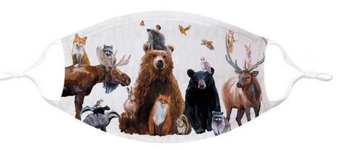 GreenBox Art Face Mask Large/XLarge - Woodland Bunch