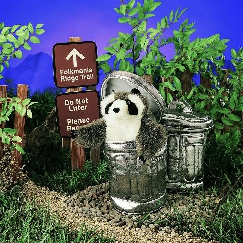 Folkmanis Puppet - Raccoon in a Garbage Can