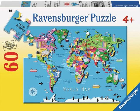 Ravensburger Puzzle 60 Piece, World Map