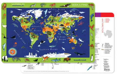 Crocodile Creek Two-Sided Placemat World Animals