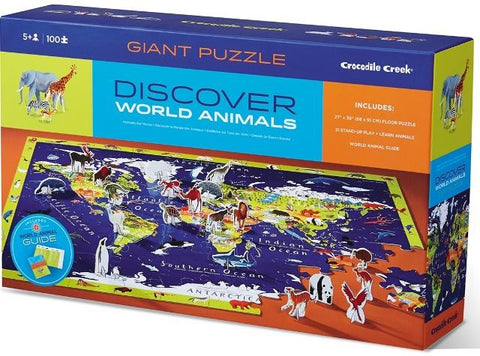 Crocodile Creek Puzzle Discover World Animals Learn & Play, 100 Piece
