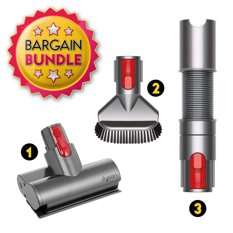 Dyson V7 / V8 / V10 / V11 Accessories Bundle (Stiff Bristle Brush / Mini Motorhead Turbine Brush / Extension Hose)
