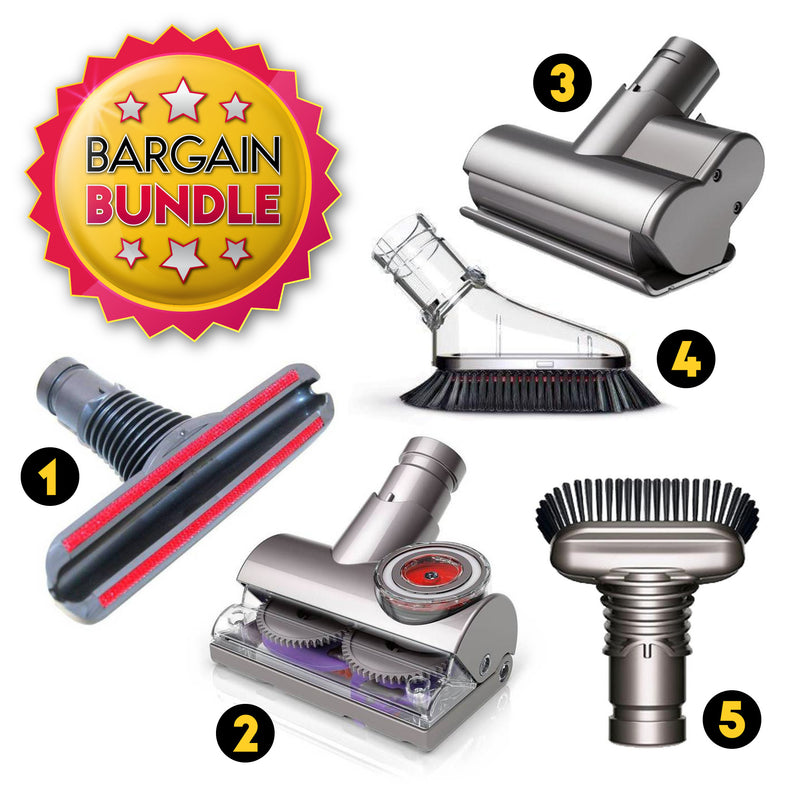 Dyson V6 / UP19 / DC33 / DC66 Accessories Bundle (Tangle Free Turbine Head / Mini Motorize Head / Mini Soft Dusting Brush / Stiff Bristle Brush / Mattress Brush)