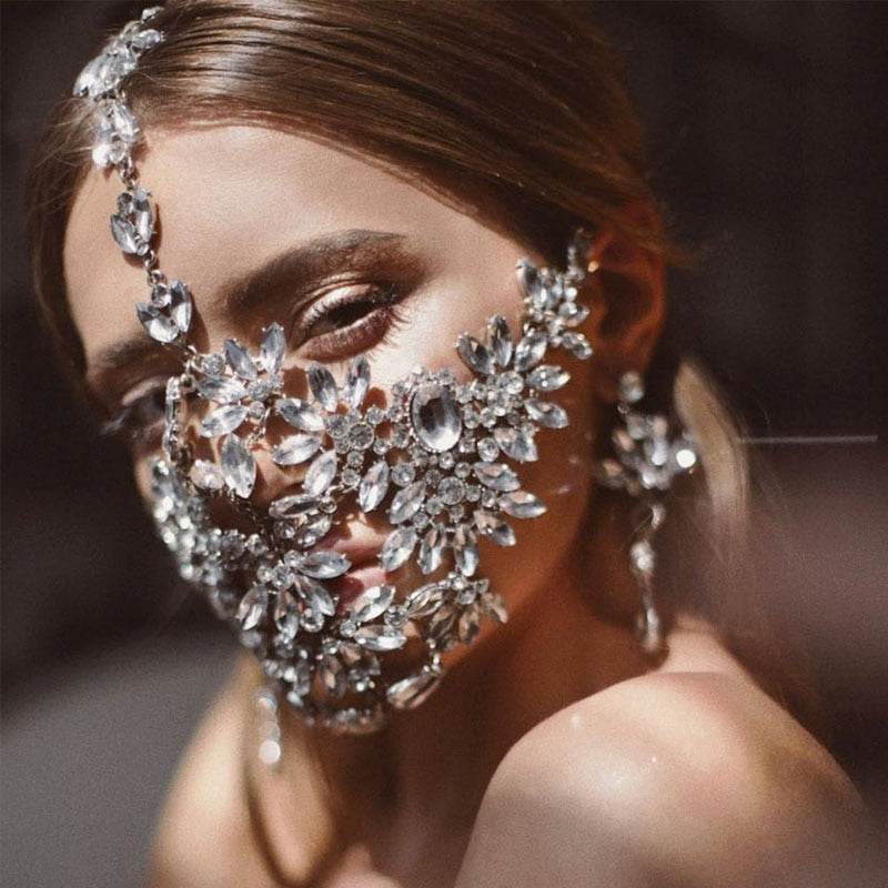 Handmade Crystal Mask, Statement Sexy Mask, Mask with Bling, Dancer Face Mask