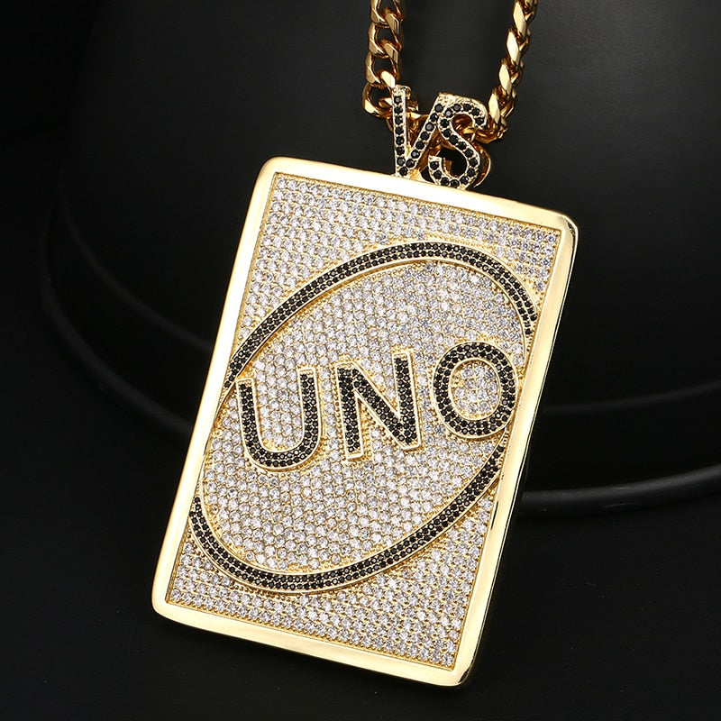 UNO Card Letter Iced Out Pendant with Necklace, Rhinestone UNO Card Charm, Ice UNO Card Chain, Gold UNO Card Pendant