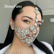 Load image into Gallery viewer, Handmade Crystal Mask, Statement Sexy Mask, Mask with Bling, Dancer Face Mask
