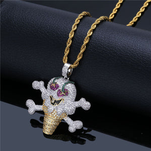 GR8 APE Frozen Icy Skull Cone Pendant and Rope Chain