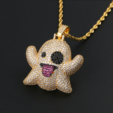 Load image into Gallery viewer, GR8 APE Ice Ghost Pendant and Rope Chain