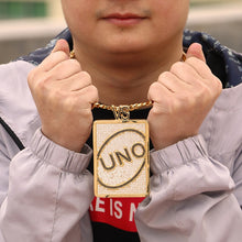 Load image into Gallery viewer, UNO Card Letter Iced Out Pendant with Necklace, Rhinestone UNO Card Charm, Ice UNO Card Chain, Gold UNO Card Pendant